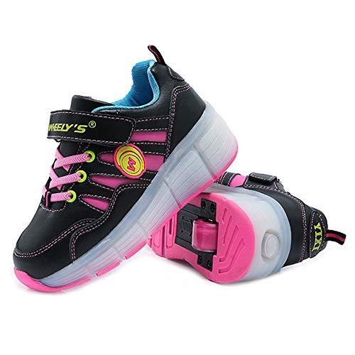 LHWAN Unisex Kinder Led Einrad Rollschuhe Schuhe Wasserdichte Led Streifen Abnehmbare Versenkbare Skateboard Gymnastic Sneaker Tanzstiefel Jungen Mädchen,Pink,29EU