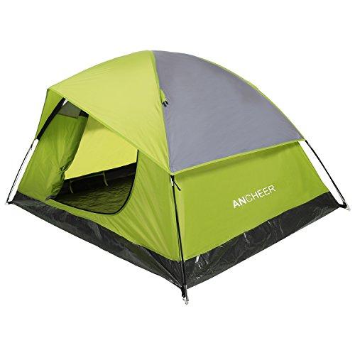 Ancheer Instant Dome Zelt, 2 Person Camping Wandern tent-lightweight, einfaches Setup, wasserdicht, 4 Jahreszeiten Rucksackreisen Zelt mit Tragetasche, Green&Grey