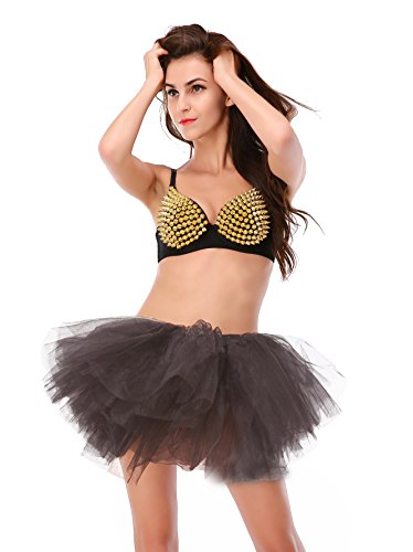 Dressystar Damen Retro Rockabilly Swing Petticoat Ballett Tutu Unterrock in verschiedenen Farben Grau