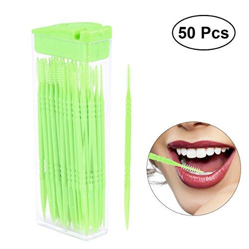 ROSENICE Zahnmedizinische Zahn-Auswahl 50pcs bewegliche Interdental-Bürsten-Plastik-Mund-Zahnstocher mit Fall (gelegentliche Farbe)