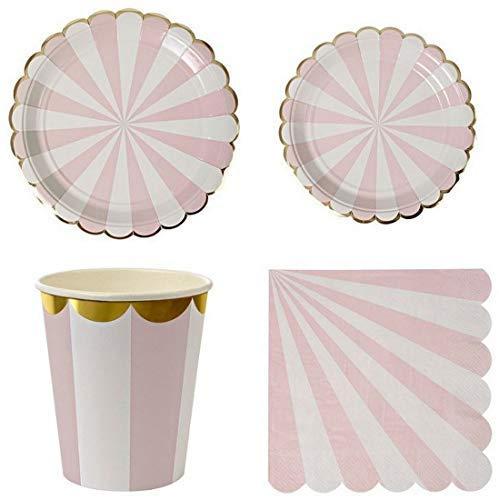 Polka Dot Sky Pastell Gestreift Geburtstagsfeier Geschirr Packung Papier Teller Becher Servietten Gold Foil Edge Leuchtende Farben 8-Pack (32-tgl.) - Rosa, 9 inch