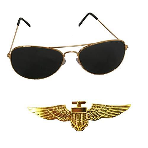 SeeMeInThat Pilotenflügel, Anstecker für Kostüm, Polizei-Sonnenbrille, Top Pistole, Wappen.