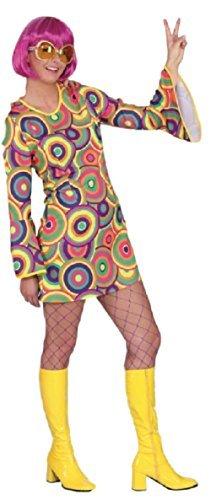 Fancy Me Damen 1960s Jahre 1970s Hell Bunt Hippie Love Wirbel Kreise Decade Thema sechziger Kostüm Kleid Outfit - Multi, UK 8 (EU 36)