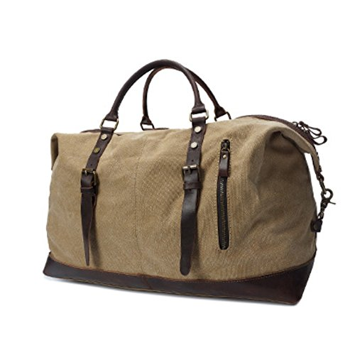 Tancurry vintage Canvas Reisetasche Sporttasche weekender Tasche Handgepäck für Damen und Herren mit Groß Kapazität - Dunkelgrau Khaki