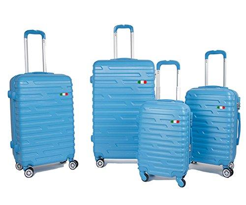 Set 4 trolley bagagli rigidi in policarbonato abs ultraleggeri 4 ruote girevoli a 360° piccolo 18