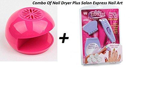 Skyfun Salon Express Nail Art Polish Stamping Kit Fast Polish Polish and Dryer Air Blower