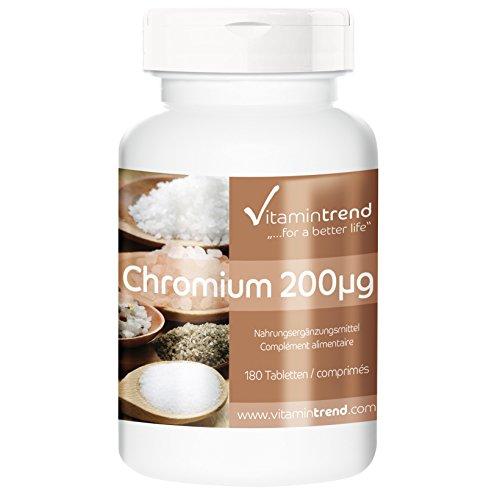 Chrom 200µg - Großpackung mit 180 Tabletten - ! FÜR 6 MONATE ! - vegan - Chrompicolinat