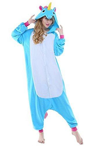 Tier Karton Kostüm Einhorn PyjamaTierkostüme Jumpsuit Erwachsene Schlafanzug Unisex Cosplay M(Höhe152-165CM) Blau