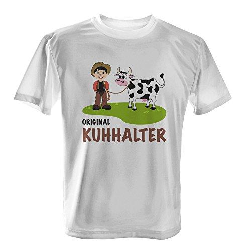 Original Kuhhalter - Herren T-Shirt von Fashionalarm   Fun Shirt Spaß Landwirt Landwirtschaft Kuh Kühe Cowboy Weide Wiese Rind Rinder Zucht Weiß