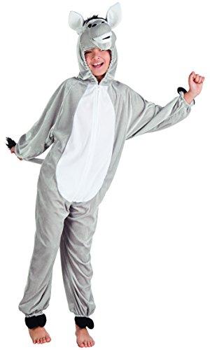 Boland costume tuta peluche asinello per bambini, grigio, max 1,40 m, 88205
