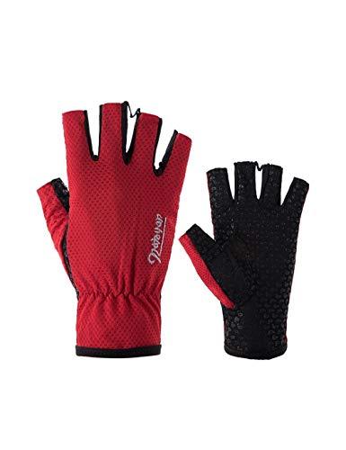Kostüm Ice Angel - WYSTAO Angeln Handschuhe UV-Schutz Ice Silk Atmungsaktiv und schnell trocknend Persönlichkeit Mode Reithandschuhe Wandern Angeln rutschfeste Männer und Frauen Rote Handschuhe (Color : 2 Pairs)