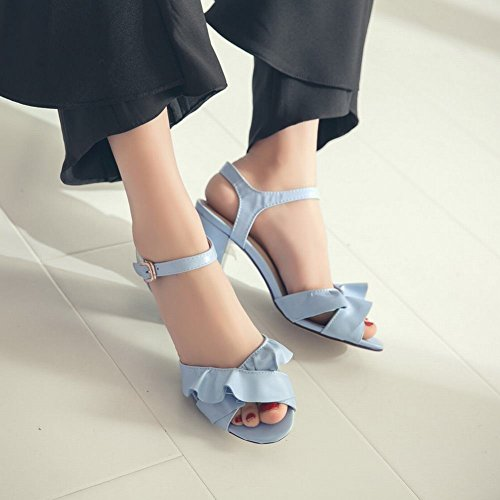 Damen Schnalle Abertas Blau Saltos Sapatos Com Robustos Para Sandálias Aw6Pd7