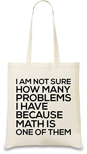 Viele Probleme Mathe ist einer von ihnen lustiger Slogan - Many Problems Math Is One Of Them Funny Slogan Custom Printed Tote Bag| 100% Soft Cotton| Natural Color & Eco-Friendly| Unique, Re-Usable &