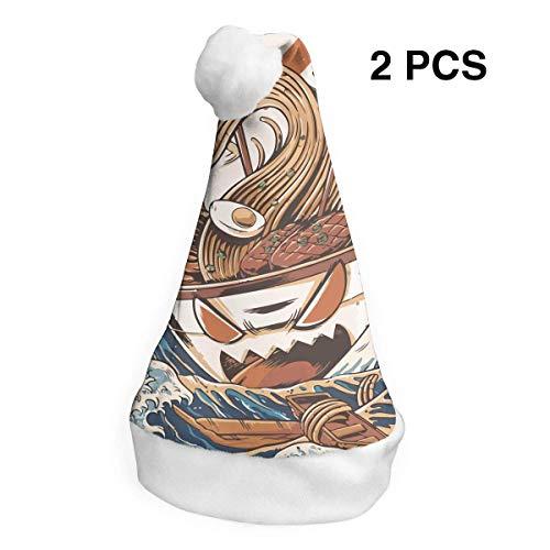 Nudel Kostüm - Weihnachtsmütze Kostüm Seewellen Nudeln Samt Nikolausmützen