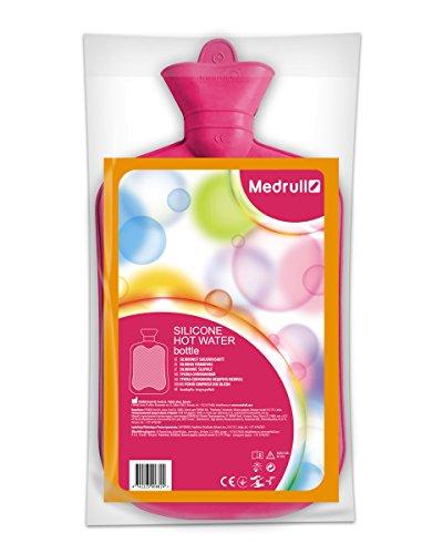 Medrull Rosa Wärmflasche 2 Liter SILIKON Geruchsfrei Hot or Cold Water Bottle