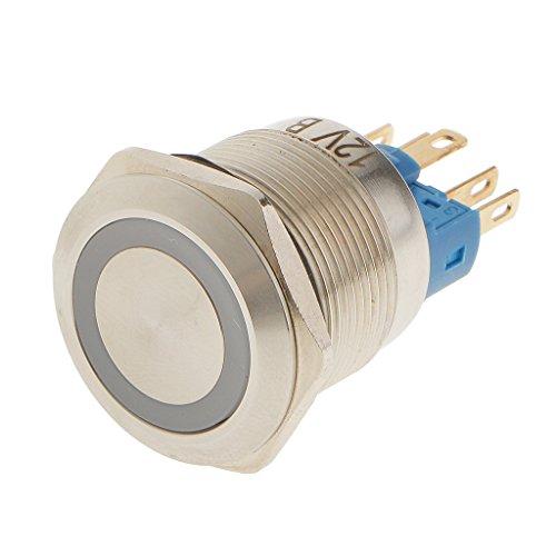 Push-button Led (Metall Blaue LED 22mm Push Button Switch Druckschalter Schalter Wasserdicht Rast)