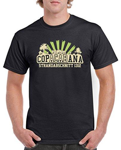 Comedy Shirts - Copacabana Strandabschnitt 1312 - Herren T-Shirt - Schwarz/Beige-Hellgrün Gr. 4XL