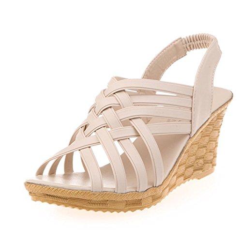 OverDose Damen Frauen Schuhe Sommer Hoch Plattformen Ausschnitt Muster Checkered Gürtel Gladiator Sandalen Schuhe Beige