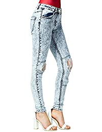 Acid Wash White Lace Insert Skinny Jeans