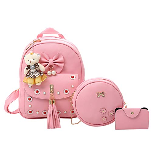 YueLove Niedlichen Kleinen Rucksack Mini Umhängetasche Kartentasche 3 STÜCK Sets Casual Kunstleder Bowknot Quaste Daypacks für Teenager und Frauen -