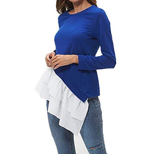 YEZIJIANG Damen Lose Asymmetrisch Jumper Sweatshirt Pullover Bluse Oberteile Oversize Tops Frauen Langarmshirt Rundhals Rüschen Patchwork T-Shirt Stretch Tunika Top