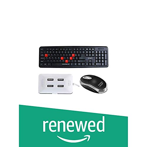 Renewed  Quantum Wired USB Combo with Keyboard, Mouse and 4 Port USB Hub  QHM7403,QHM222,QHM6633