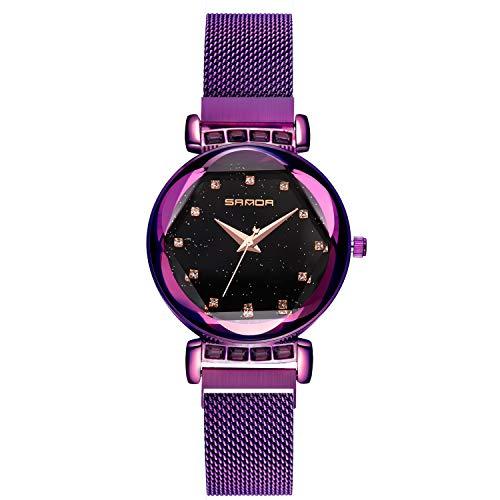 RORIOS Einfach Fashion Damen/Frauen Armbanduhren Sternenklarer Himmel Dial Mesh Armband Magnetband Analog Quarzuhr Armbanduhr