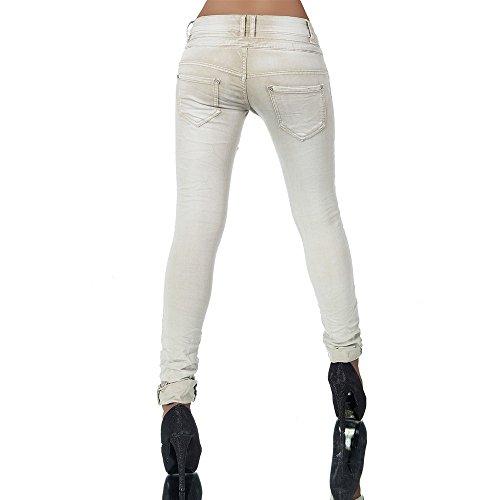 Damen Jeans Hose Boyfriend Damenjeans Harem Baggy Chino Haremshose L368, Größen:36 (S), Farben:Beige -