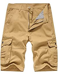 a932debd2 Fyou Men s Fashion Casual Cotton Pocket Solid Outdoors Work Trouser Cargo  Short Pants