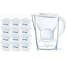 BRITA, Carafe Filtrante, Marella, 2.4L, 12 Cartouches Filtrantes MAXTRA+ incluses - Blanc