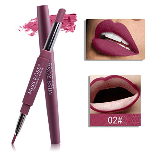 Rouge à lèvres,Honestyi 8 couleurs Double-fin Ligneur durable Crayon à lèvres imperméable à l'eau Brillant à lèvres multi-fonctions (Rouge # 2)