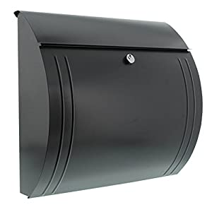 Burg-Wächter Letterbox with Opening Stop, A4 Size, Galvanised Steel, Modena 857 Ant, Charcoal Grey