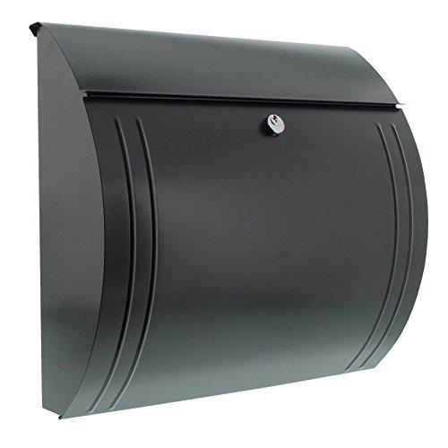 BURG-WÄCHTER, Briefkasten mit Öffnungsstopp, A4 Einwurf-Format, Verzinkter Stahl, Modena 857 ANT, Anthrazit