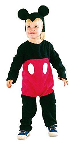 Kostüm Baby Maus Mickey - P 'tit Clown - 82491 - Kinder-Kostüm für Jungen - Maus schwarz/rot - 92/104 cm / 3-4  Jahre