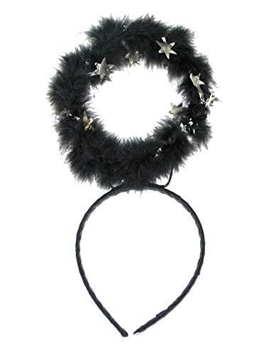Halloweenia - Kostüm Accessoires Zubehör Kopfbedeckung mit Heiligenschein aus Plüsch, Tiara with Halo, perfekt für Halloween Karneval und Fasching, Schwarz (Halo-halloween-kostüm)