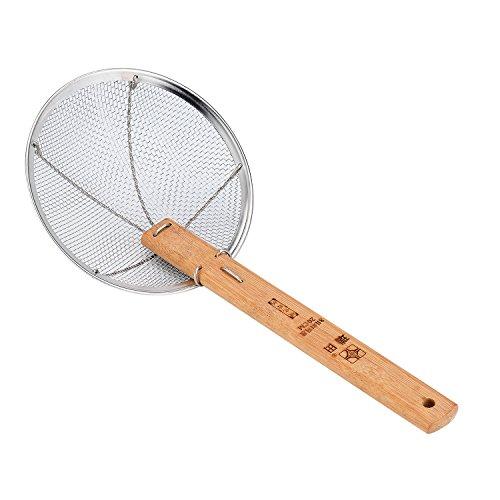 TENTA Kitchen Stainless Steel Spider Strainer with Natural Bamboo Handle Stainless Steel Wire Strainer Colander Mesh Net Skimmer Ladle, 7-Inch Strainer Basket Wok Tool - Handle Wok
