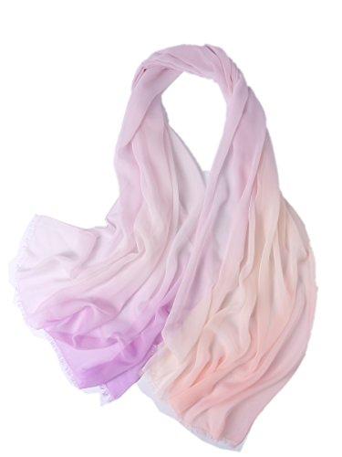 Tie-dye-seide-schal (Prettystern - Elegant Damen 100% Georgette Seide Farbverlauf Oversize Stola Schal mit Kurzen Fransen - Tie Dye 3)