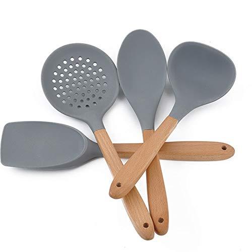 1PCS Kochutensilien grau Silikon Pfannenwender Buche Holz Griff Hohe Temperatur Beständigkeit Kochen Werkzeug (rund Löffel)