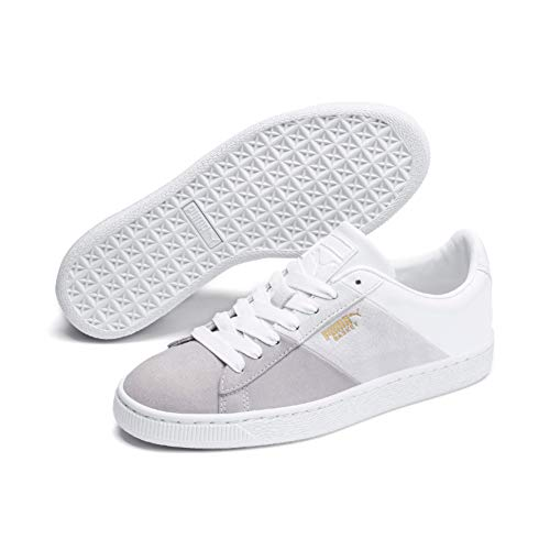PUMA Damen Basket Remix Wn's Sneaker, Weiß (Puma White-Puma Team Gold), 39 EU -