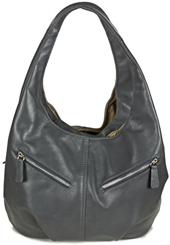 Taschenloft Damen Hobo Handtasche Leder | geräumige Beuteltasche mit 3 Fächern | 30x25x17cm Dunkelgrau