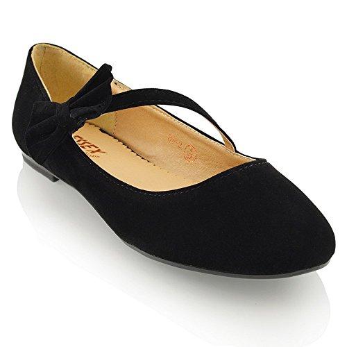 ESSEX GLAM Damen Ballerinas Modische Pumps Flats Mit Schleife Party Schuhe (UK 7 / EU 40 / US 9, Schwarz Wildlederimitat) Patent Dolly