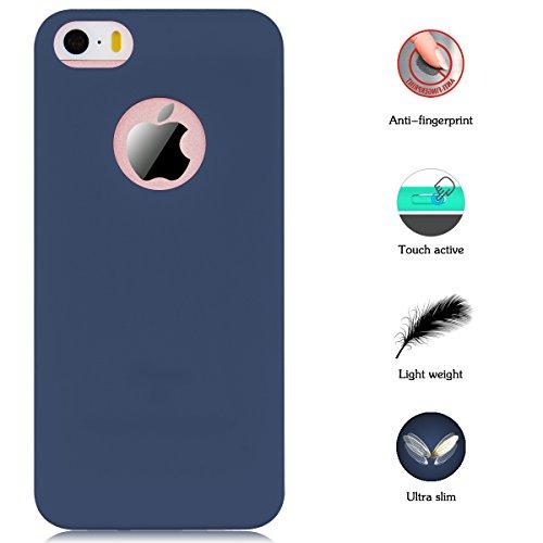 Coque iPhone 5 / 5S / SE, Yokata Solide Mat Anti-Fingerprint Case Housse Étui Soft Doux TPU Silicone Flexible Backcover Ultra Mince Coque - Rose Bleu marine