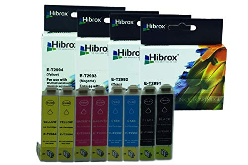 Pack 8Pcs Hibrox Jet d'Encre Compatible Epson 2x T2991 Noire 2x T2992 Cyan 2x T2993 Magenta 2x T2994 Jaune pour Epson EXPRESSION HOME XP 235 245 247 332 335 342 345432 435 442 XP 235 245 247 332