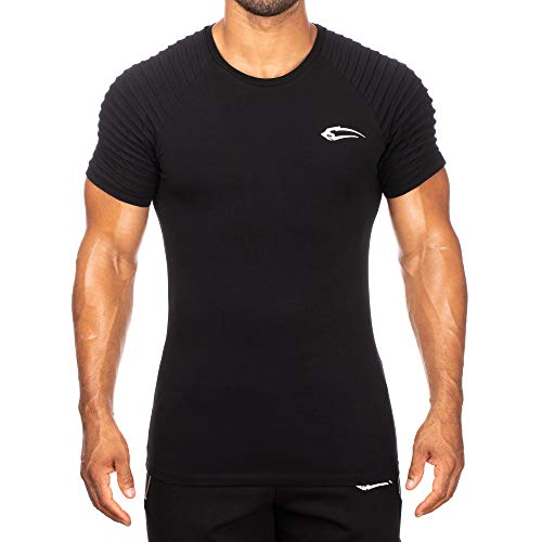 SMILODOX Herren T-Shirt Ripplez | Kurzarm | Casual Top | Funktionsshirt für Sport Fitness Gym & Training | Trainingsshirt - Laufshirt - Sportshirt mit Logo, Farbe:Schwarz, Größe:M