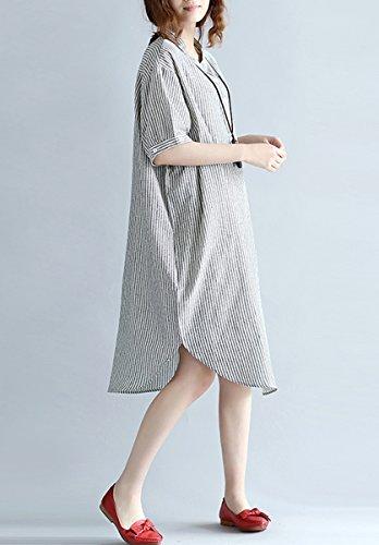 ELLAZHU Damen Baggy Strifen Knielang Halbarm Asymmetrisch Baumwolle Bluse Kleid GA832 A Gray