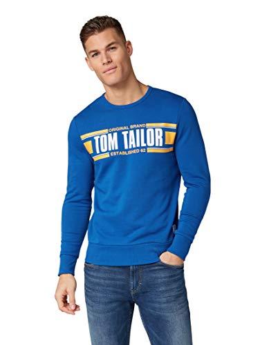 TOM TAILOR für Männer Strick & Sweatshirts Sweatshirt mit Print Arctic Sea Blue, L Arctic Pullover
