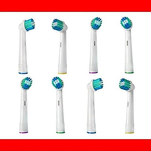8 Stk. Aufsteckbürsten passend für --- ALLE --- Braun ORAL-B/OralB/OralB Zahnbürsten mit rundem Bürstenkopf (Elektrische Zahnbürsten Modelle mit oszillierenden Rundbürsten) z.B. kompatibel mit Oral B Triumph, Vitality, ProWhite, Sensitive + Clean, White + Clean, Professional Care, Precision Clean, SmartSeries, Black, Center, Oxyjet, Center, TriZone, Advance Power, Advance Power Kids, Stages Power, Precision Clean, Dual Clean, Pro Health, Plak Control, 3D Excel, Interclean IC2522, ID2021, ID2025, ID2025T, weitere kompatible OralB Typen 3711, 3725, 3728, 3731, 3738, 3744, 3745, 3756, 3757, 3709, 4729, 4730, 4731, 4733, 4736, 4739, 4740, 4712, 4713, 4716, 4721, 4725, 4726, 4727, 4728, D2010, D4010, D4510, D5000S, D5011, (El Zahnbürste)