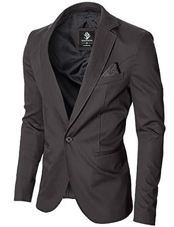 654ef1adfbb228 MODERNO - Herren Sakko Slim Fit Blazer Jacke (MOD14519B) Grau EU S ...