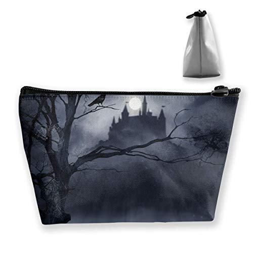 Make-Up Cosmetic Tote Bag Carry Case Portable Travel Makeup Case Pouch Toiletry Wash Organizer Horrible Dark Night Scary Castle Crow Raven Bird Halloween Theme Print