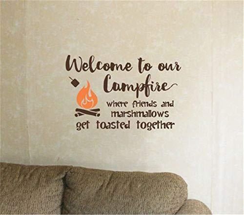 wandaufkleber spr wandaufkleber blumen Willkommen zu unserem Lagerfeuer, wo Freunde und Marshmallows zusammen geröstet werden -